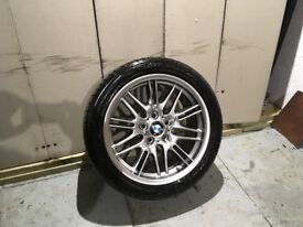 ALLOYS X 1 OF 18 INCH BMW M5 E39 STYLE 65 PARALLEL BRAND NEW REAR STAGGERED WITH BRIDGESTONE TYRE