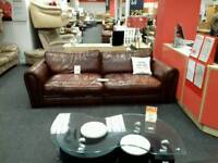 4 seater sofa upholstered in brown leather - British Heart Foundation
