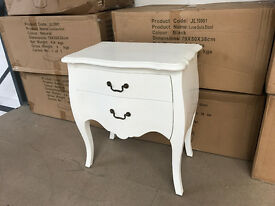 Shabby Chic Oscar 2 Drawer Bedside White Ready Built New