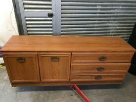 Oak glass display cabinet furniture unit drawers