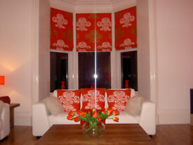 3 DESIGNERS GUILD ROMAN BLINDS . 2 WALLFRAMES AND 6 CUSHION COVERS