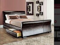 Black leather sleigh Bedframe with 2 draws vgc can deliver