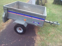 """4'X 3'3"""" Trailer drop tail gate and also tips. New wheels."""