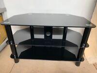 Home Matrix Glass Corner TV Unit - Black - W 80 x D 45 x H 48 cm