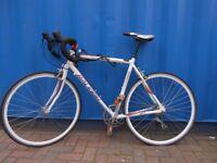 """Unisex Raleigh Team Sprint Racing Bike White Light, 18"""" Alloy Frame 21.5"""" Wheels"""