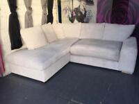 New Left Hand Corner Chaise Sofa With Standard And Scatter Back Cushions In Cream Jumbo Cord Fabric