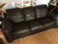 Italian leather chocolate deep cushioned sofa - gorgeous