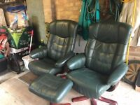 Green leather reclining set of HSL chairs and foot stool - good condition and from a smoke free home