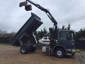 Scania p230 grab Tipper lorry 57 reg 18 ton fassi crane