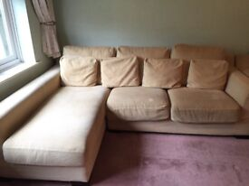 Large Cream 3-Seater Sofa with Chaise Lounge & Matching Armchair