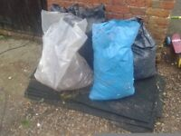 FREE GROUND RUBBLE CONCRETE HARDCORE BRICK CEMENT IN 6 X BAGS + RUBBER WEED SUPPRESSOR MATS