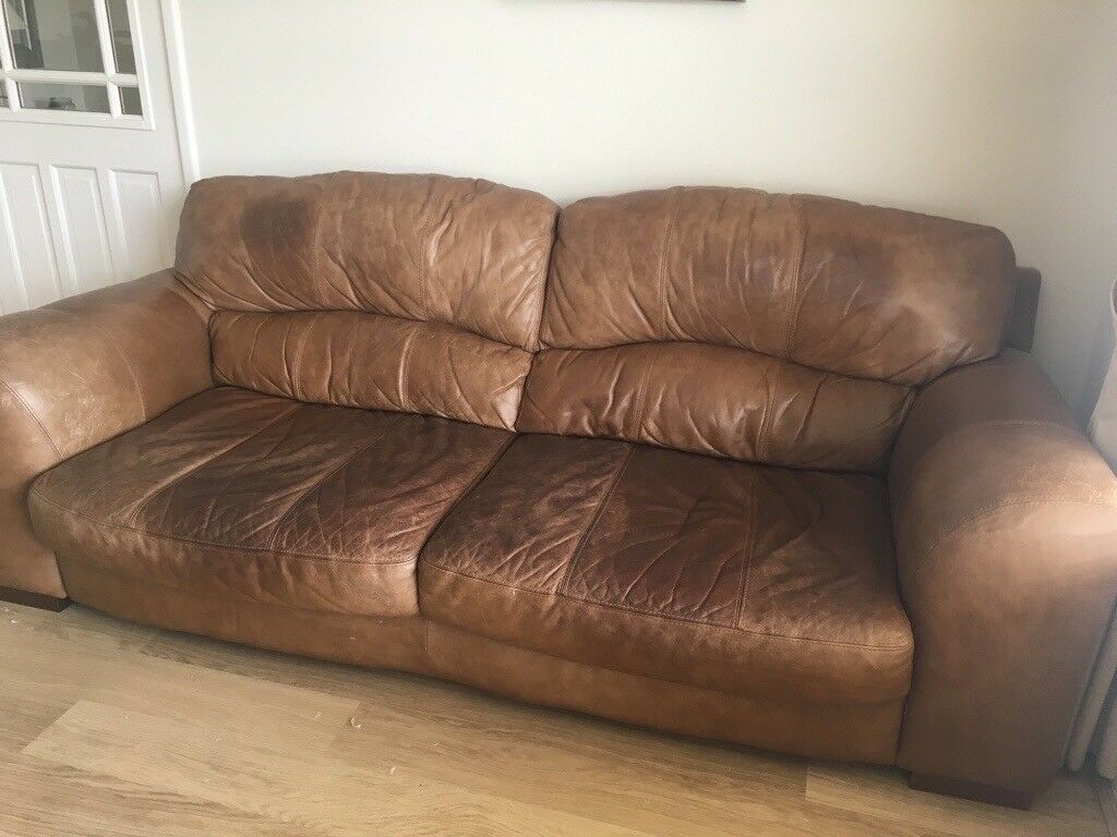 Distressed Leather Sofa And Chair In Newcastle Tyne And Wear Gumtree