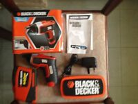 Black & Decker cordless screwdriver & tape
