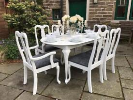 Extending Queen Anne Dining Table & 6 Chairs