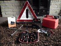 Car breakdown bundle - warning triangle, battery charger, air compressor etc... RRP: £62.53
