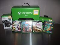 X BOX ONE WITH 1TB HARD DRIVE 7 GAMES 2 CONTROLLERS