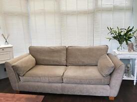 3 seater NEXT sofa Beige Taupe Velvet - Great condition