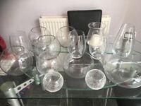 Numerous glass bowls various sizes