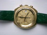 lemania/Omega 'Philip Morris' automatic mechanical chronograph wristwatch - Swiss - '70s -Gold plate