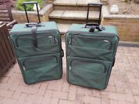 2 X LARGE SUITCASES GREEN VERY GOOD CONDITION USED TWICE