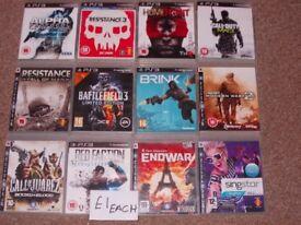 PLAYSTATION 3 GAMES £1 EACH