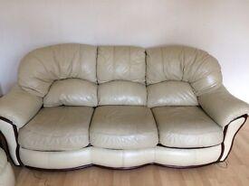 Beige leather Sofa Suite-2+3 seater.