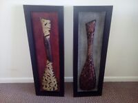 Pair of metal wall art pictures
