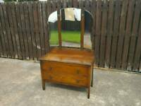 Vintage 2 drawer dressing table with triple mirror