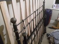 Double bed frame with slatted base, brushed metal, good condition