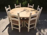 Solid Wood Oak Dining Table With Six Chairs