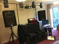 Full Mobile DJ setup - speakers(x4), mixer, amps (x2), lights (x 6), stands, mics (x3), leads