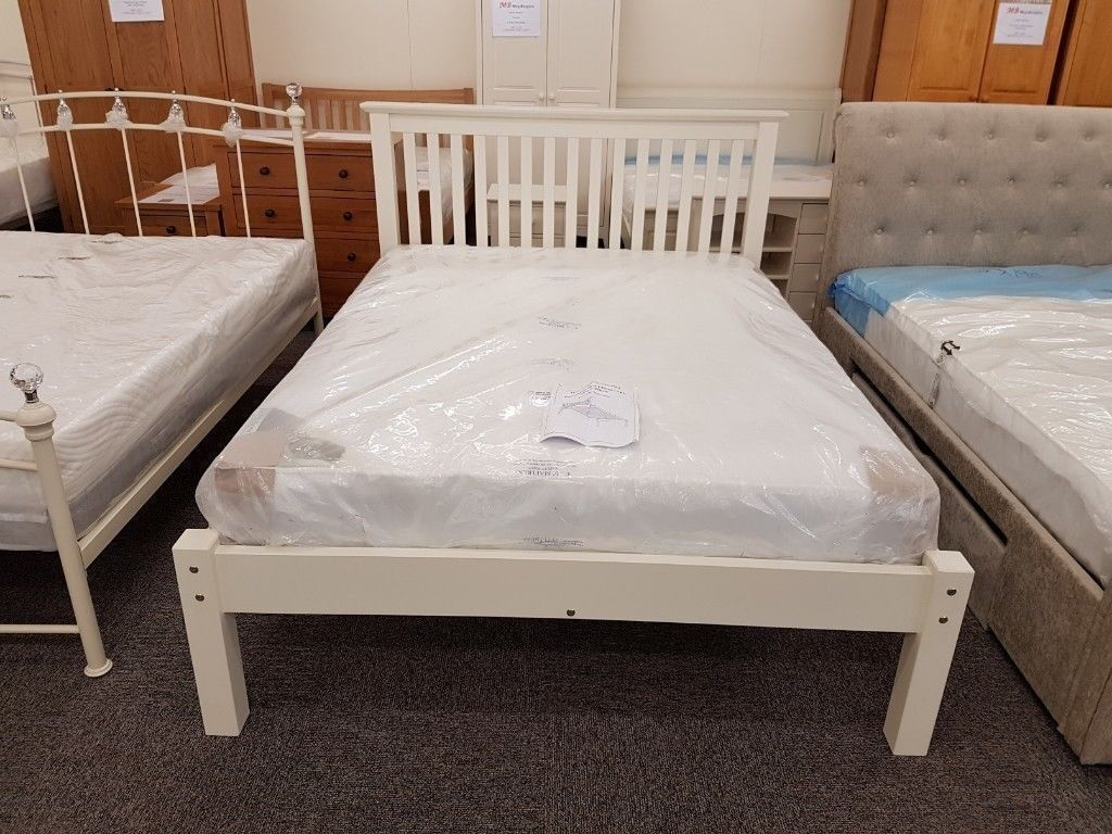 Barcelona 4ft6 Stone White Low Foot End Double Bed Frame By Julian Bowen Only Can Deliver