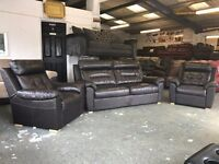 DESIGNER DARK BROWN REAL LEATHER THREE PIECE SUITE 3 SEATER SOFA AND 2 ARMCHAIRS