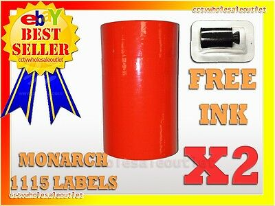 2 Sleeves Fluorescent Red Label For Monarch 1115 Pricing Gun 2 Sleeves20rolls
