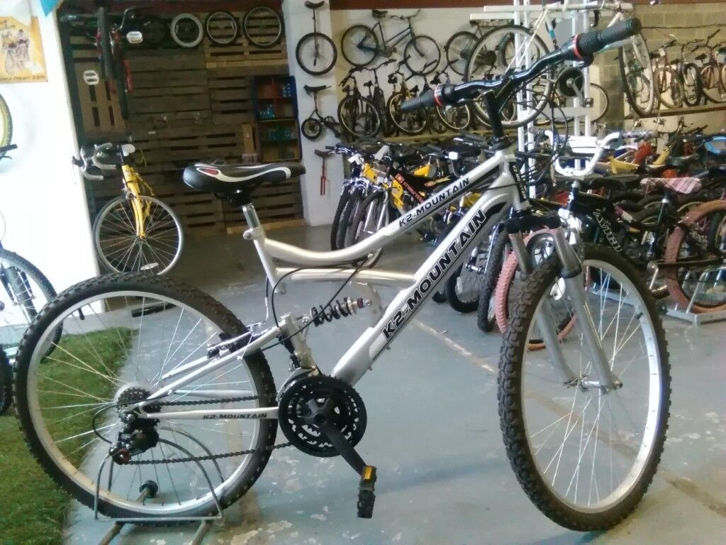 K2 Mountain Bike 26 Inch Wheel 18 Speed Full Sus Silver