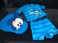 Disney Baby Beach Pool Mickey Mouse Outfit with matching hat - 3-6mths