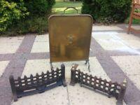 Brass Fireguard & 2 Decorative Grilles