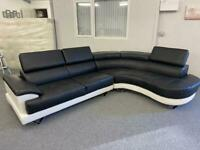 STUNNING BLACK LEATHER FAUX - LARGE MODERN CORNER SOFA SUITE