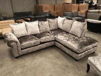 Brand new silver crush velvet corner sofa