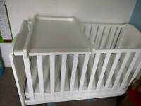 Cot bed/ child's bed with mothercare mattress and changing table