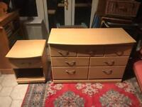 Stylish & Modern Large Chest Of Drawers & Matching Bedside Table