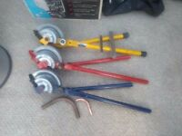 3 Pairs of plumbers pipe bending machines