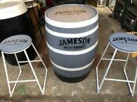 Upcycled Barrel & Stool Set