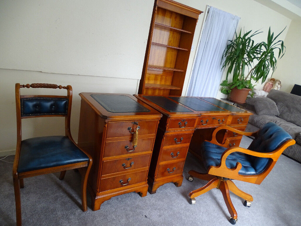 Antique Style Set Home Office Desk Chesterfield Captains Chair Filing