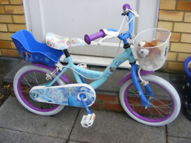 "GIRLS 16"" WHEEL FROZEN BIKE IN GREAT WORKING CONDITION AGE 4+ NO RUST"