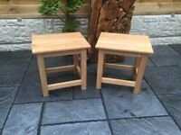 Pair Of Solid Oak Lamp Tables, New / Boxed