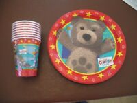 Party pack for child,s birthday 16 plates, 16 cups 4 tablecovers
