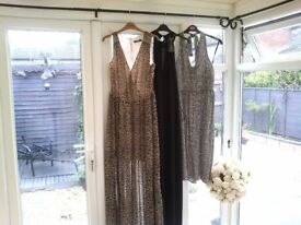 3 dresses..2 (warehouse)patterned..1 French connection £10 each or all 3 for £22.all.size 14.....new