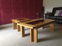 Oak and glass coffee table with matching side table