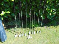 old golf clubs and balls /collect aberbargoed